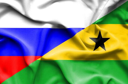 principe: Ondeando la bandera de Santo Tom� y Pr�ncipe y Rusia