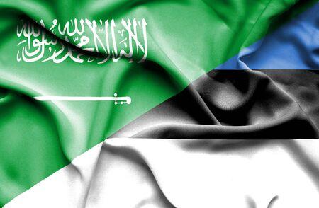 saudi arabia: Waving flag of Estonia and Saudi Arabia Stock Photo