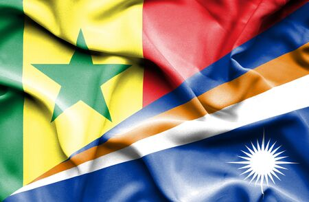 marshall: Waving flag of Marshall Islands and Senegal