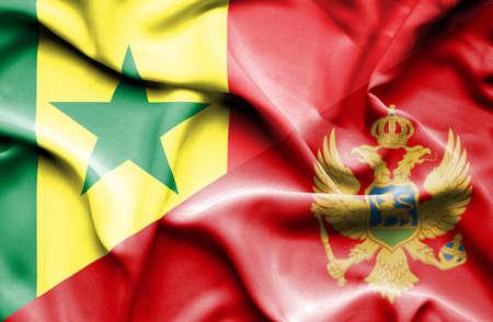 senegal: Waving flag of Montenegro and Senegal