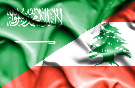 saudi arabia: Waving flag of Lebanon and Saudi Arabia