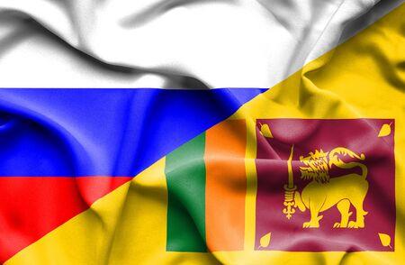 sri lanka: Waving flag of Sri Lanka and Russia