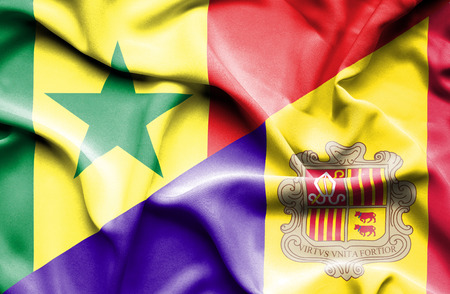 andorra: Waving flag of Andorra and Senegal Stock Photo