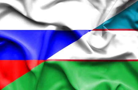 uzbekistan: Waving flag of Uzbekistan and Russia