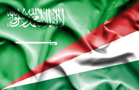 seychelles: Waving flag of Seychelles and Saudi Arabia