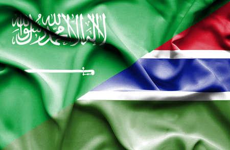 saudi arabia: Waving flag of Gambia and Saudi Arabia