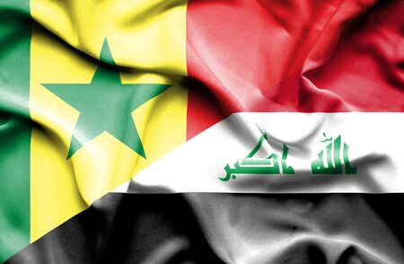 iraq conflict: Waving flag of Iraq and Senegal Stock Photo