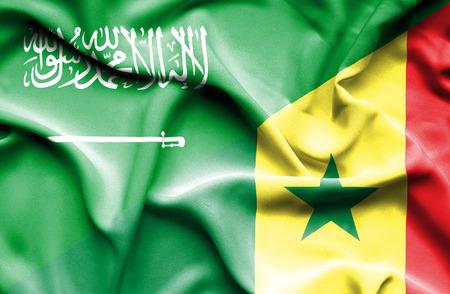 saudi arabia: Waving flag of Senegal and Saudi Arabia