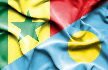 palau: Waving flag of Palau and Senegal
