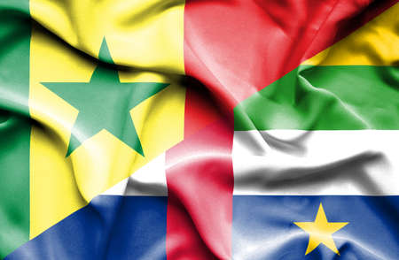 central african republic: Waving flag of Central African Republic and Senegal