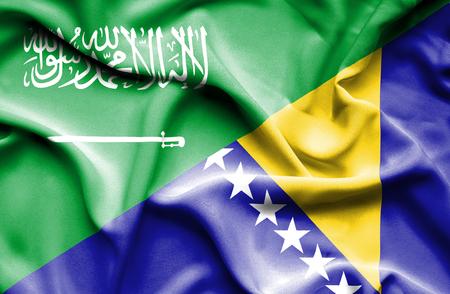 bosnia and herzegovina flag: Waving flag of Bosnia and Herzegovina and Saudi Arabia