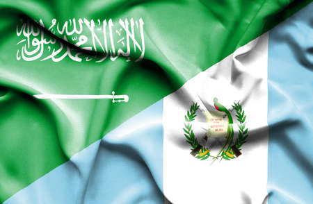 saudi arabia: Waving flag of Guatemala and Saudi Arabia Stock Photo
