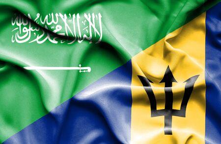 arabia: Waving flag of Barbados and Saudi Arabia