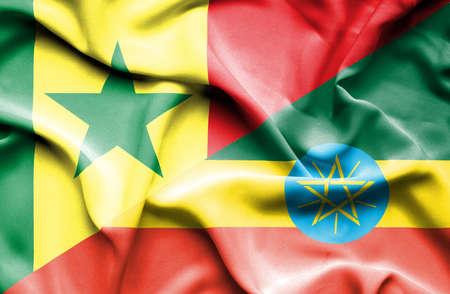 senegal: Waving flag of Ethiopia and Senegal