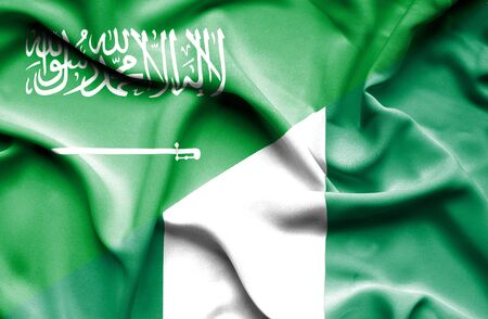 arabia: Waving flag of Nigeria and Saudi Arabia