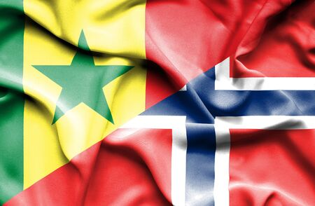 norway flag: Waving flag of Norway and Senegal Stock Photo