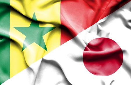 senegal: Waving flag of Japan and Senegal