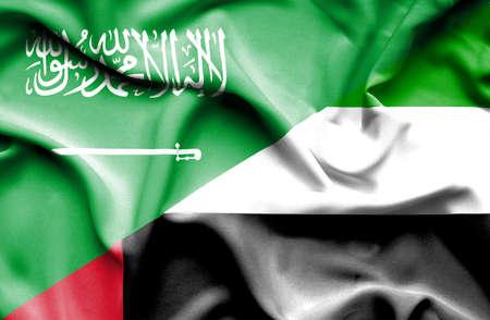 emirates: Waving flag of United Arab Emirates and Saudi Arabia