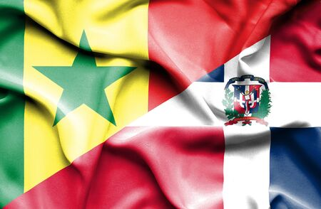 dominican: Waving flag of Dominican Republic and Senegal