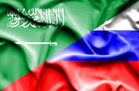 saudi arabia: Waving flag of Russia and Saudi Arabia Stock Photo