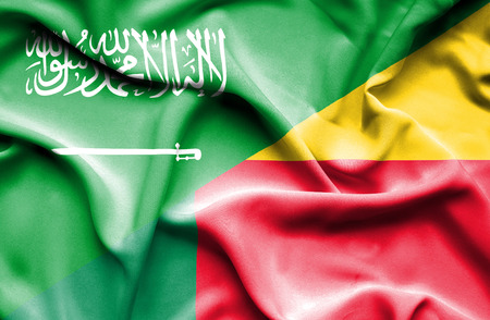 saudi arabia: Waving flag of Benin and Saudi Arabia