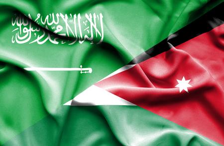 saudi arabia: Waving flag of Jordan and Saudi Arabia
