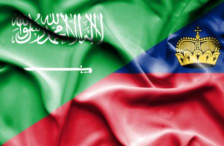 lichtenstein: Waving flag of Lichtenstein and Saudi Arabia Stock Photo