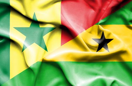 principe: Waving flag of Sao Tome and Principe and Senegal