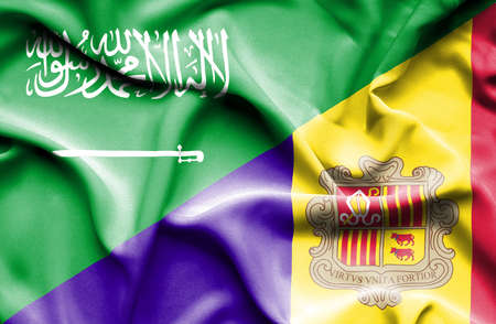 saudi arabia: Waving flag of Andorra and Saudi Arabia