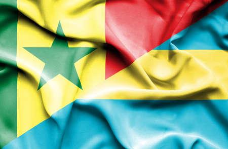 bahamas: Waving flag of Bahamas and Senegal