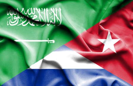 saudi arabia: Waving flag of Cuba and Saudi Arabia