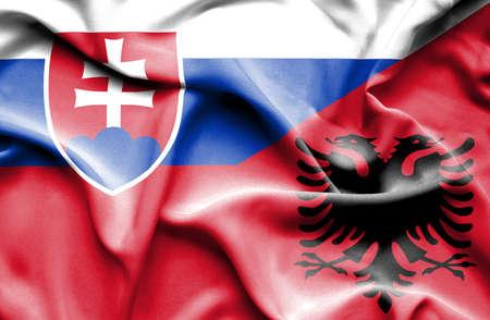 slovak: Waving flag of Albania and Slovak