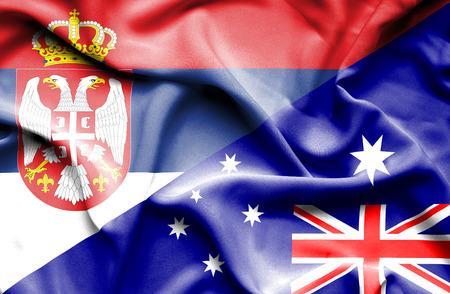 serbia: Waving flag of Australia and Serbia