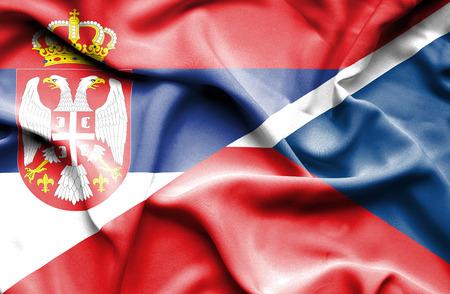 the czech republic: Waving flag of Czech Republic and Serbia