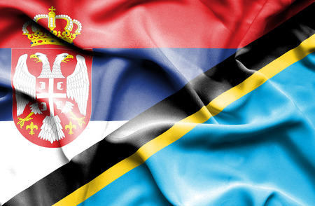 tanzania: Waving flag of Tanzania and Serbia