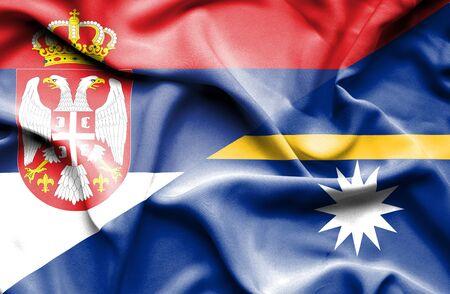 serbia: Waving flag of Nauru and Serbia