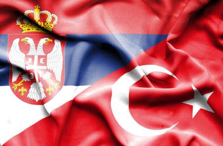 serbia: Waving flag of Turkey and Serbia Stock Photo