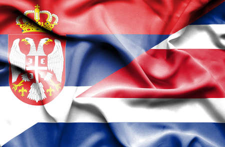 serbia: Waving flag of Costa Rica and Serbia