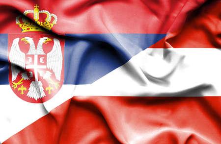 serbia: Waving flag of Austria and Serbia