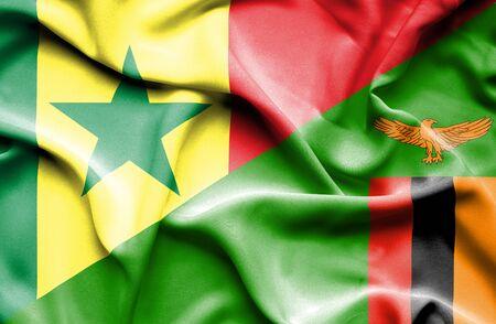 zimbabue: Ondeando la bandera de Zimbabwe y Senegal