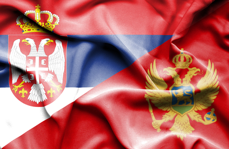 serbia and montenegro: Waving flag of Montenegro and Serbia