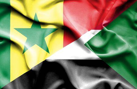 senegal: Waving flag of Sudan and Senegal