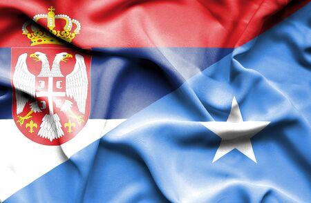 serbia: Waving flag of Somalia and Serbia