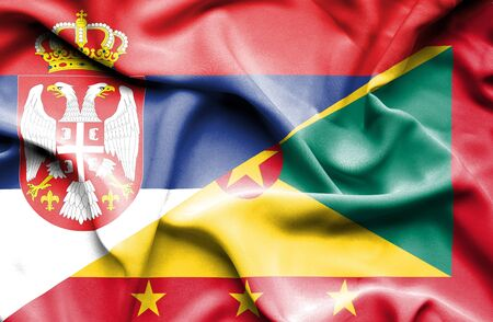 guernsey: Waving flag of Guernsey and Serbia