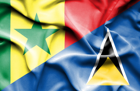 lucia: Waving flag of St Lucia and Senegal