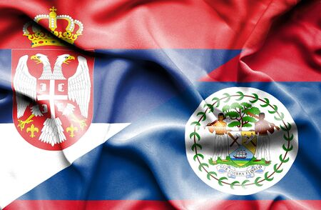 belize: Waving flag of Belize and Serbia