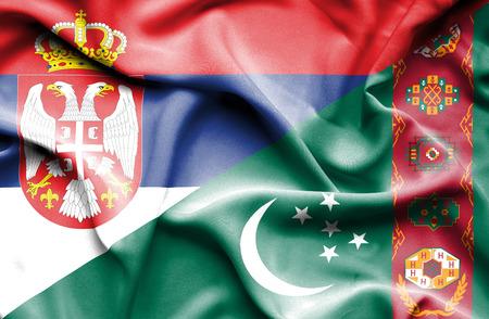 serbia: Waving flag of Turkmenistan and Serbia