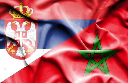 serbia: Waving flag of Morocco and Serbia