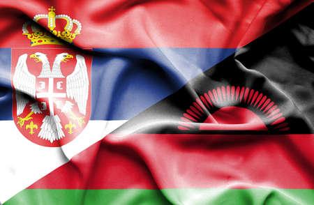 malawian: Waving flag of Malawi and Serbia