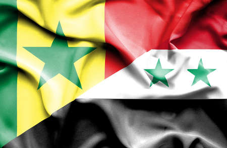 syria peace: Waving flag of Syria and Senegal Stock Photo